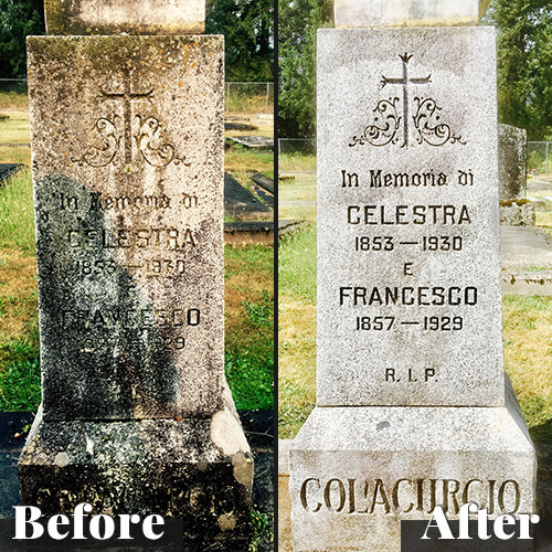 A before and after image of a tombstone restored